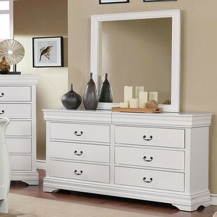 Louann 6 Drawer Double Dresser with Mirror