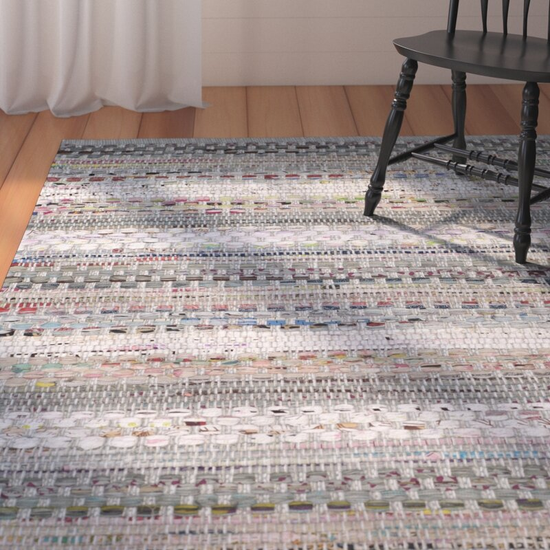 August Grove Vesey Hand-Knotted Cotton Gray/White/Brown Area Rug, Size: Rectangle 8 x 10