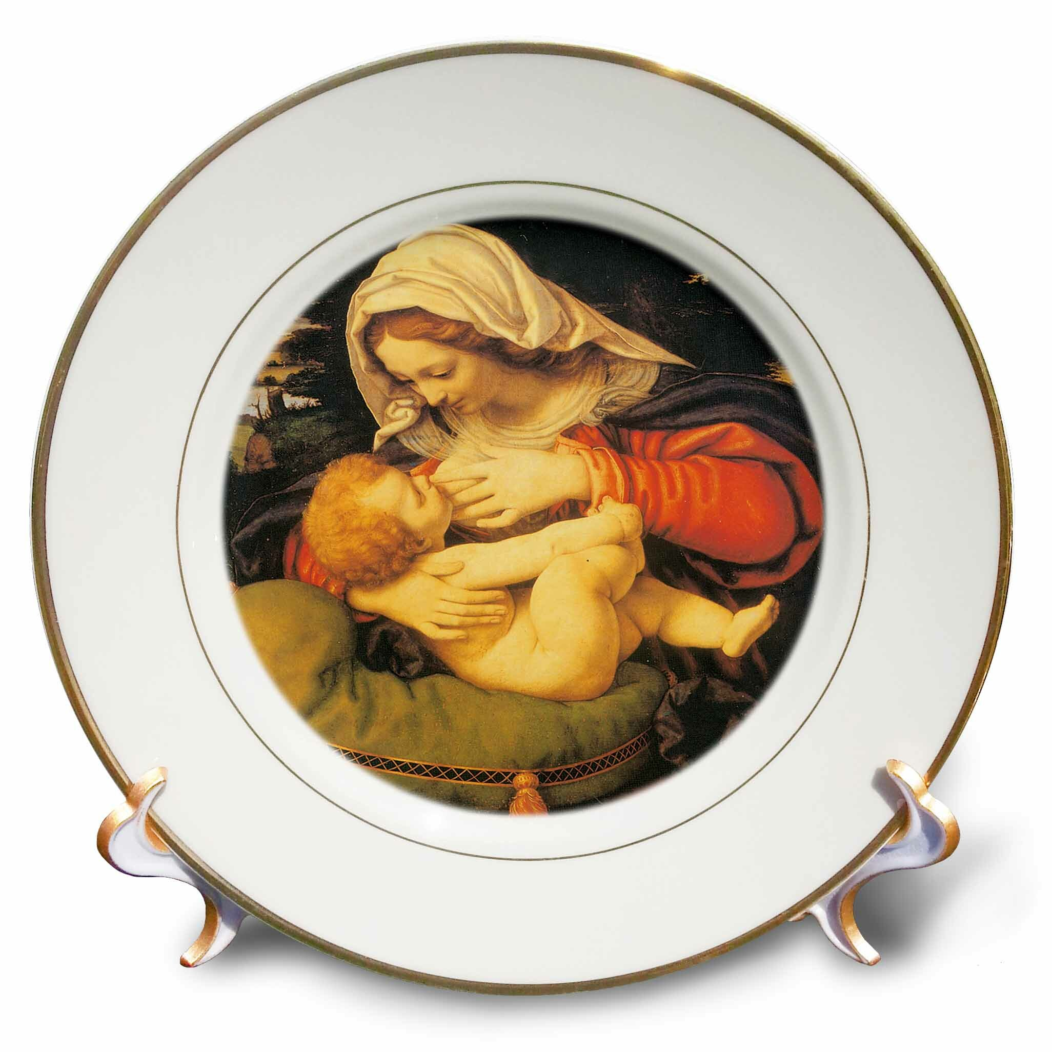 East Urban Home Madonna With The Cushion By Andra Solari Porcelain Decorative Plate Wayfair