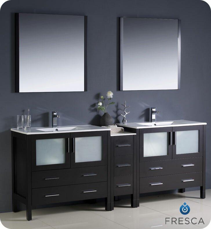 Torino 84 Double Bathroom Vanity Set With Mirror