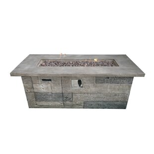 Timber Concrete Propane Fire Pit Table by Teva Furniture New