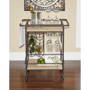 Motes Metal and Wood Wine Bar Cart by Williston Forge