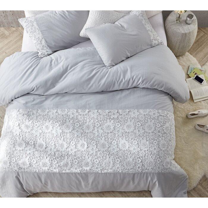 Bungalow Rose White Lace Twin Xl Duvet Cover Glacier Grey Wayfairca