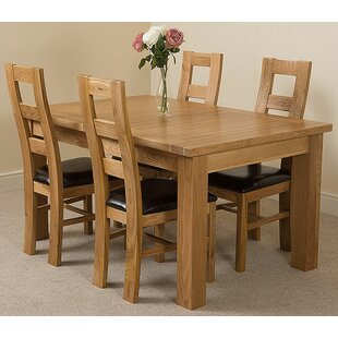Sairsingh Kitchen Solid Oak Dining Set With 4 Chairs By Rosalind Wheeler