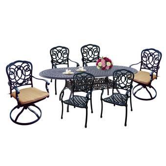 Fleur De Lis Living Carleton 7 Piece Dining Set With Cushions Reviews Wayfair