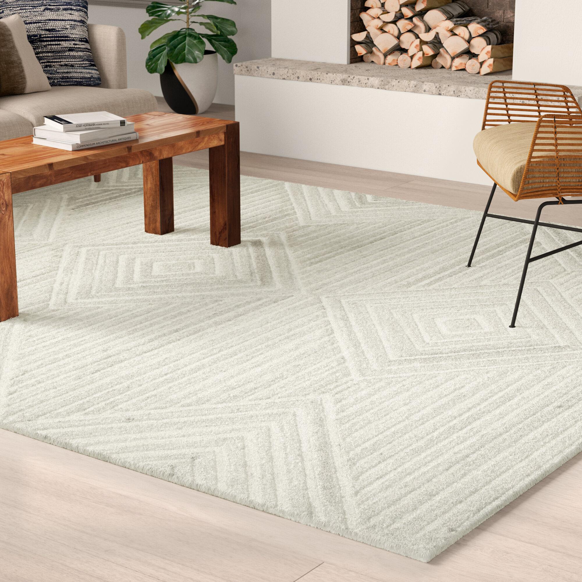 Allmodern Caper Geometric Hand Tufted Wool Ivory Area Rug Reviews Wayfair