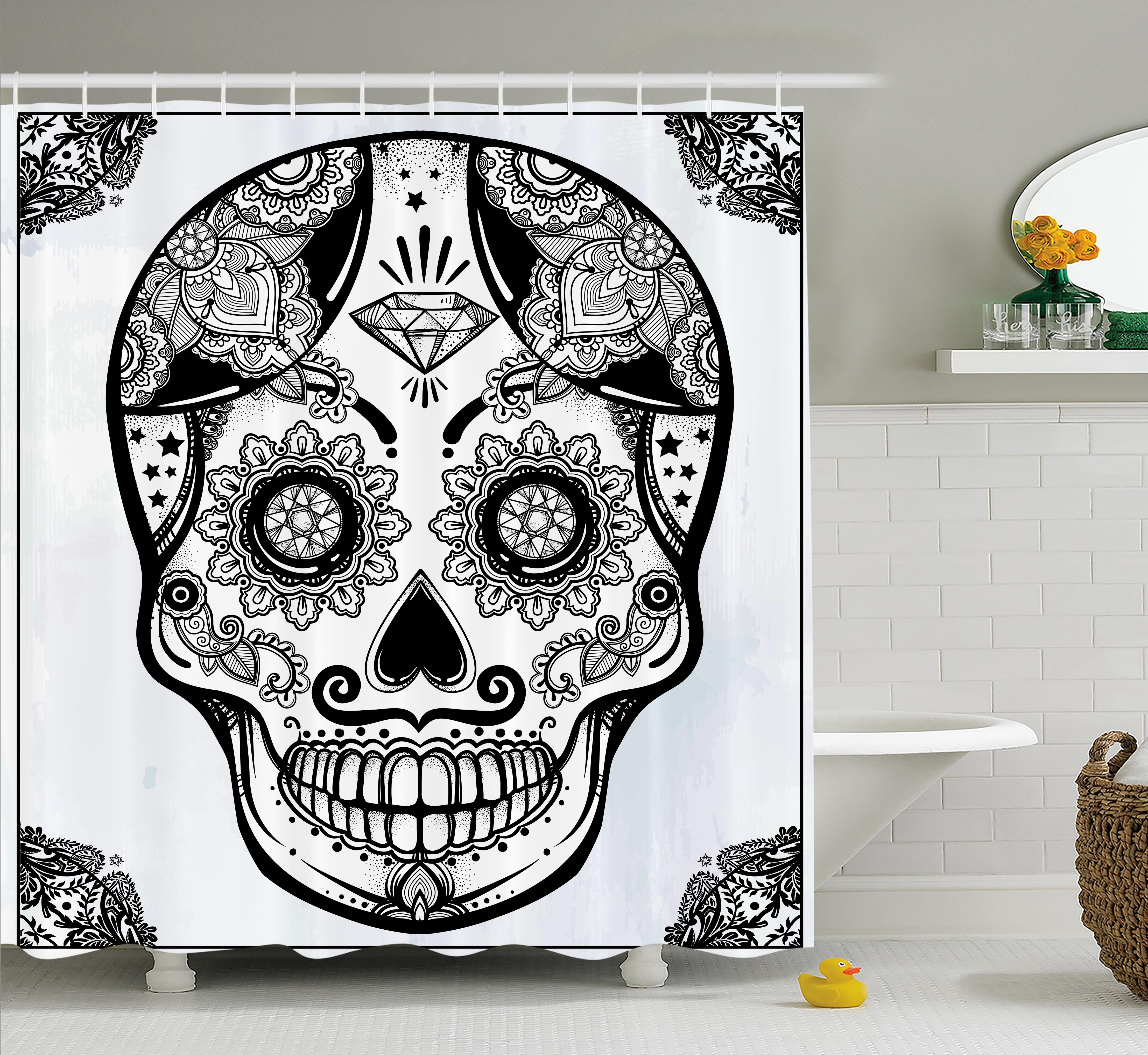 East Urban Home Keeble Day Of The Dead Holiday Sugar Skull Print With Floral Mandala Spanish Folk Art Shower Curtain