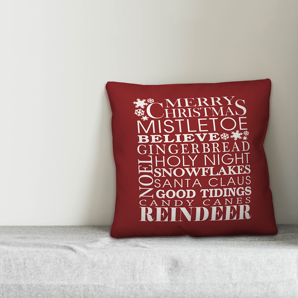 carney christmas things on dark red throw pillow
