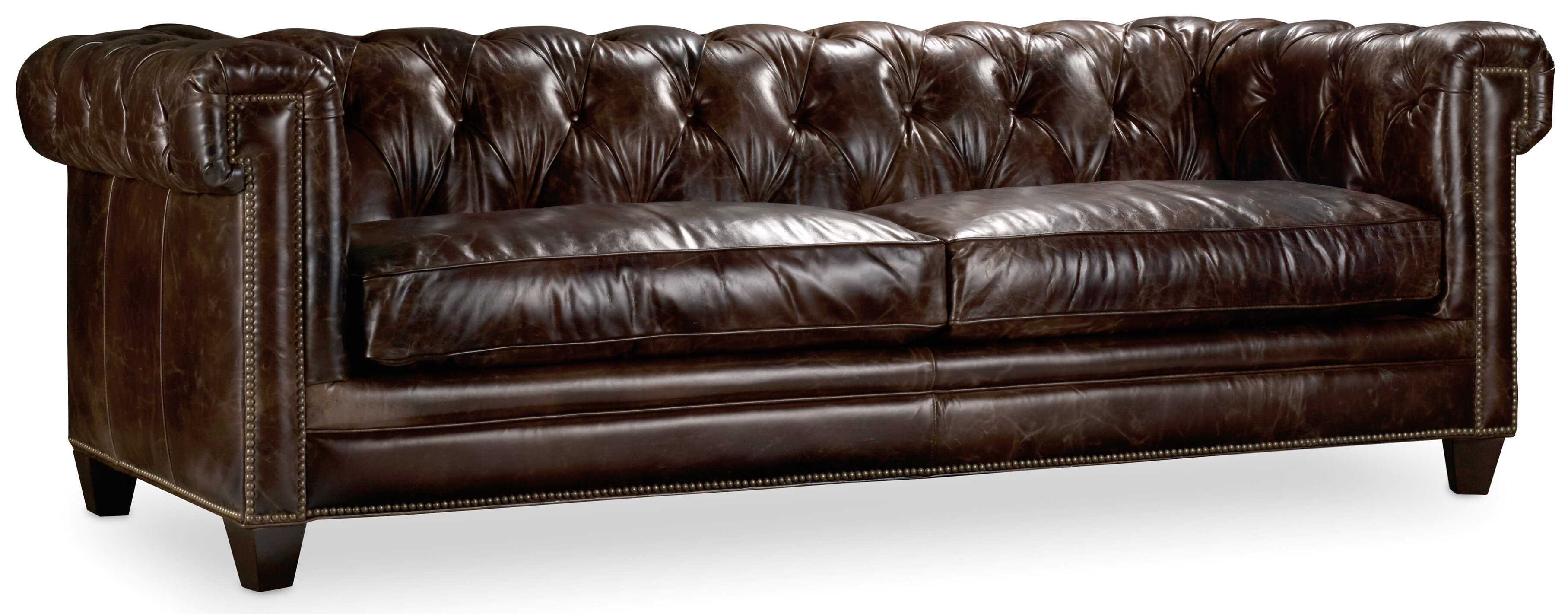 Hooker Furniture Imperial Regal Stationary Leather Chesterfield Sofa & Reviews