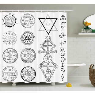 White Collage of Magic Symbols Single Shower Curtain