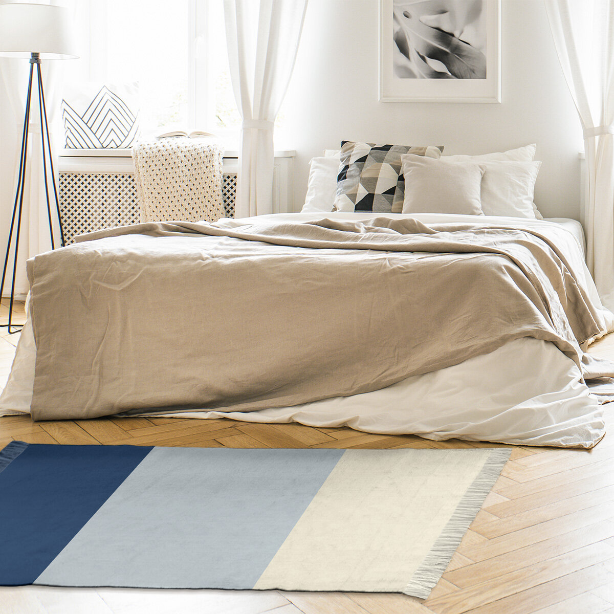 East Urban Home Seattle Striped Navy Blue Metallic Silver Cream Area Rug Wayfair