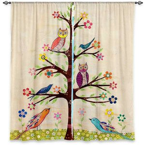 Nature/Floral Room Darkening Curtain Panels (Set of 2)