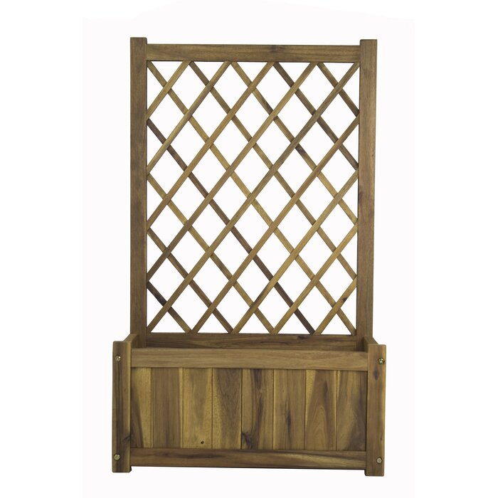 Wooden Outdoor Planter Box with Trellis Weatherproof Lattice Flower Pot