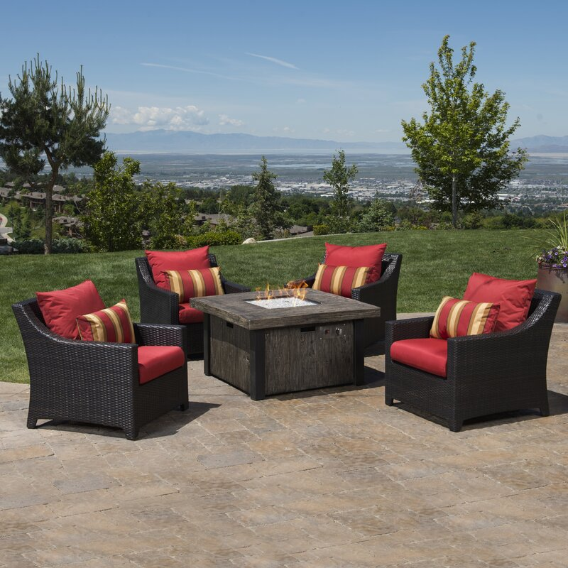 Northridge 5 Piece Fire Pit Set With Sunbrella Cushions