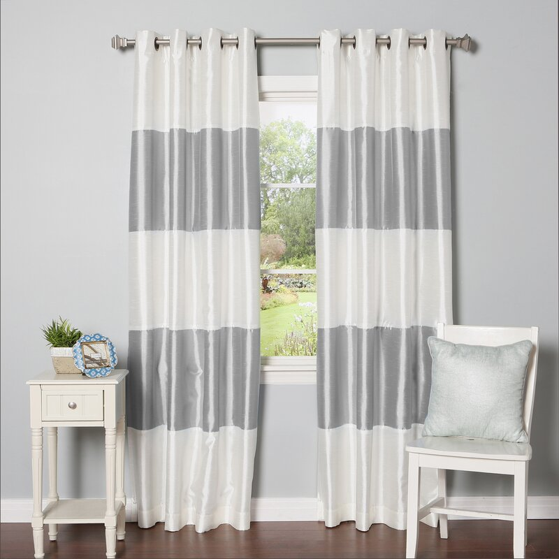 Grommet Striped Blackout Thermal Curtain Panels