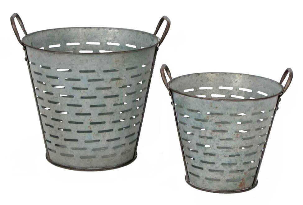 Alexander 2 Piece Galvanized Tin Conical Olive Bucket Set
