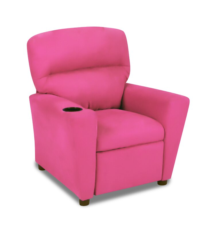 Dunsmore Recliner Fuschia Kids Microfiber Chair With Cup Holder