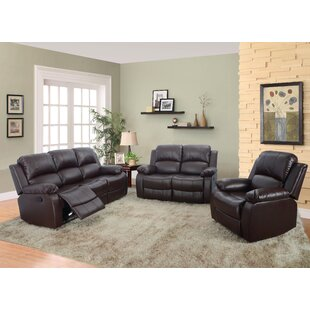 Maumee Reclining 3 Piece Leather Living Room Set by Red Barrel Studio