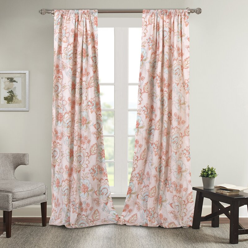 Ennis Nature Floral Semi Sheer Curtain Panel Pairs