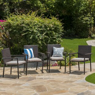 Brooklet Stacking Patio Dining Chair with Cushion (Set of 4) by Zipcode Design