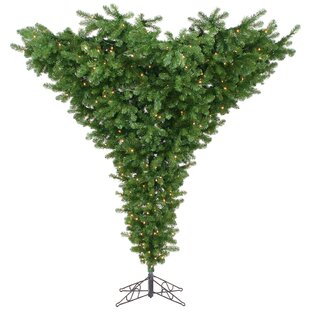 upside down 75 green artificial christmas tree with 650 dura lit clear lights with stand - Upside Down Christmas Tree Decorated