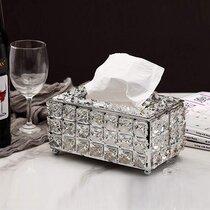 Rectangle Tissue Box Cover Bling Crystal Napkin Holder for Hotel Office Home