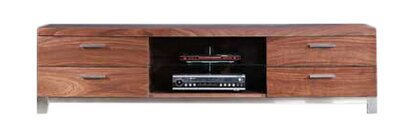 B-Modern Promoter TV Stand for TVs up to 78 Color: Light Walnut and Polished Stainless Steel