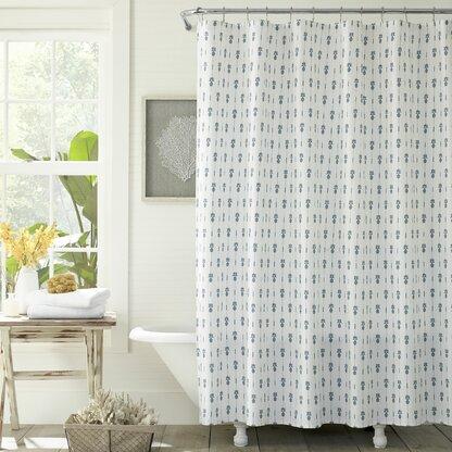 Pineapple Pinstripe Cotton Single Shower Curtain