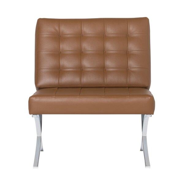 Orren Ellis Gully 32 5 W Tufted Faux Leather Slipper Chair Wayfair