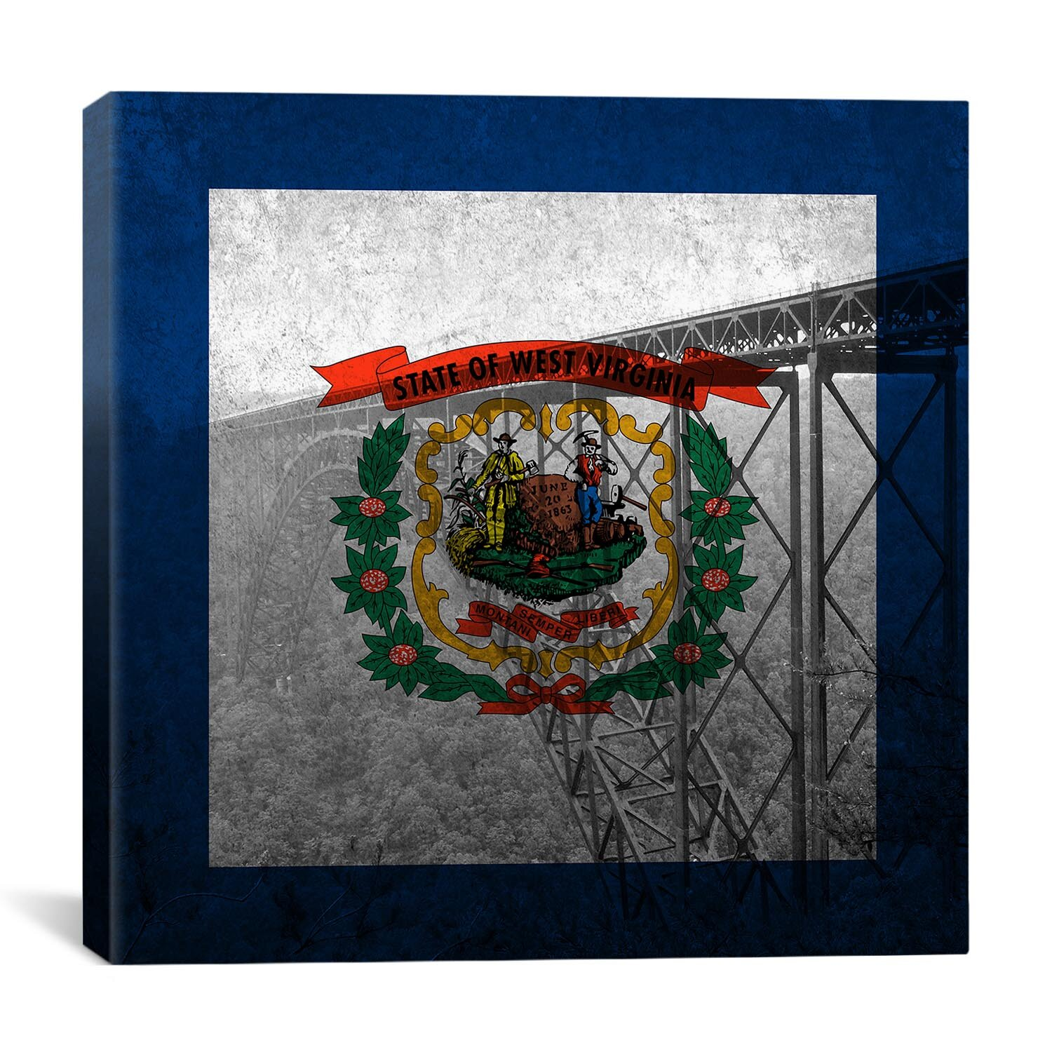 Winston Porter Flags West Virginia New River Gorge Bridge With Grunge Graphic Art On Wrapped Canvas Wayfair