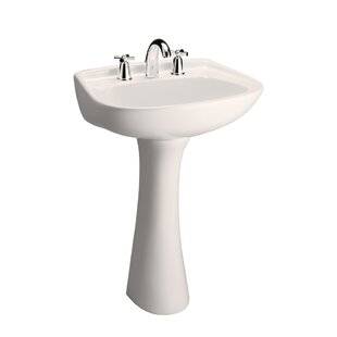 Comparison Hartford Lavatory Vitreous China 23 Pedestal Bathroom Sink with Overflow By Barclay