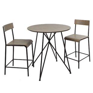 Mancilla Metal Wood 3 Piece Dining Set