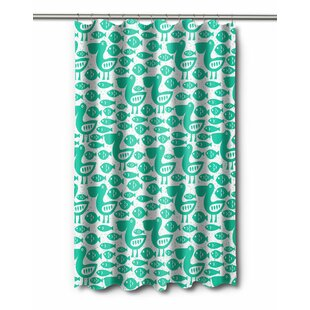 Coastal Pelican U0026 Fish Shower Curtain