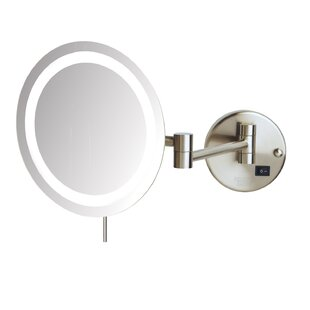 Symple Stuff LED 8x Magnifying Wall Mount Makeup Mirror