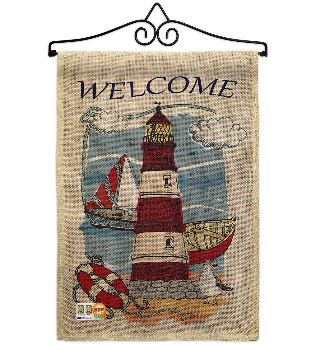 Breakwater Bay Kistner Lighthouse Shore Coastal Beach Impressions Decorative Vertical 2 Sided Burlap 19 X 13 In Garden Flag Wayfair