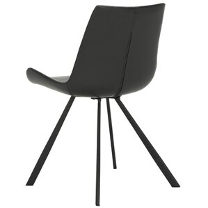 Brownlee Side Chair in Leather - Black (Set of 2) by Brayden Studio
