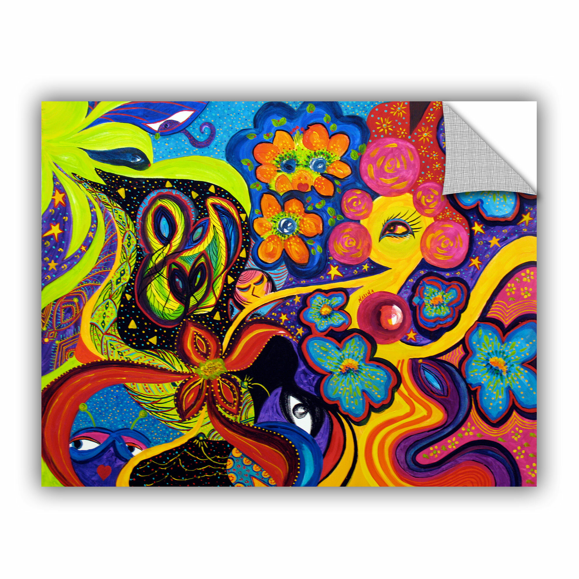 ArtWall Marina Petros Hearts and Flowers Art Appeelz Removable Wall Art Graphic 24 by 32