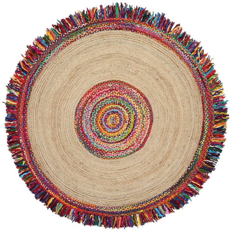 Brilliant Ribbon Round Racetrack Hand Loomed Yellow/Red Area Rug