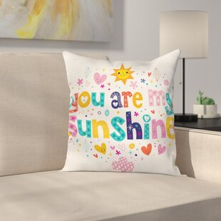 Kids Cartoon Happy Sun Heart Square Pillow Cover