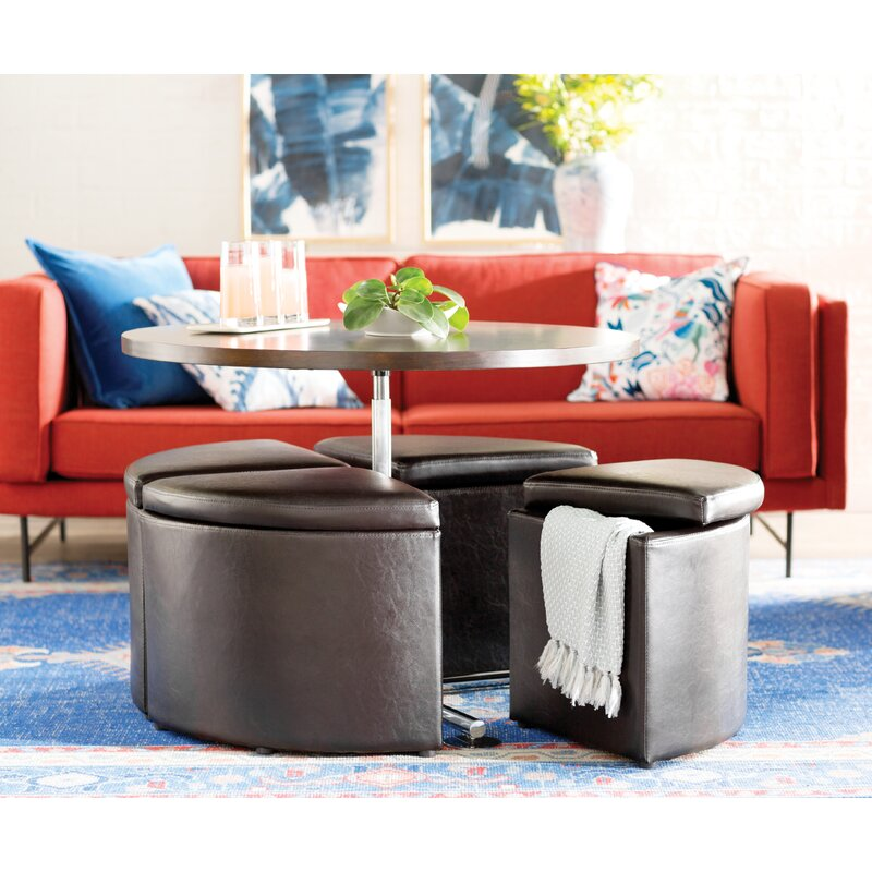 Delicieux Dempsey Gas Lift Coffee Table With Ottomans