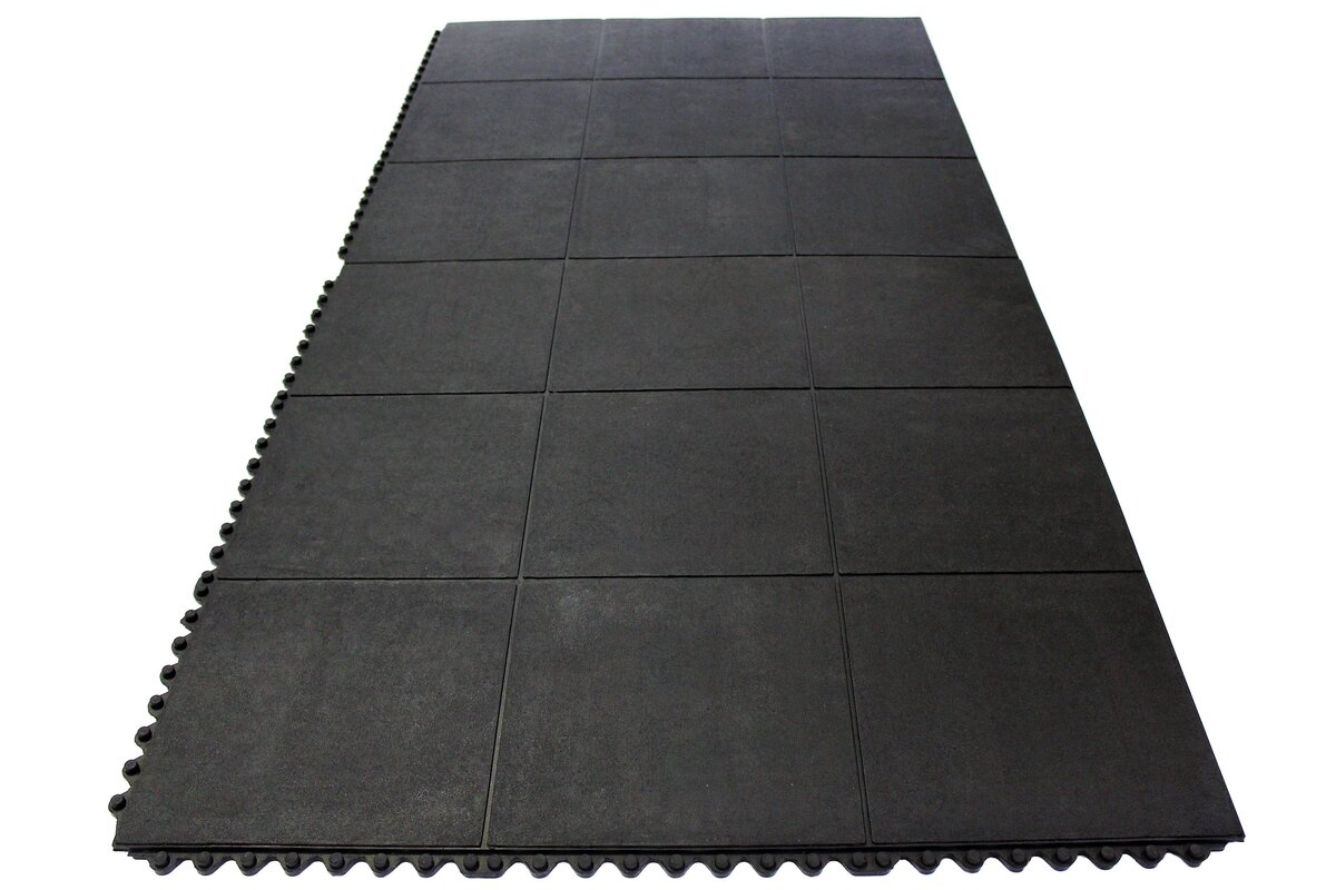 envelor home anti fatigue heavy duty solid rubber floor tiles