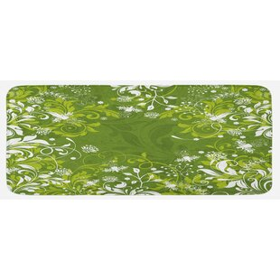 Abstract Floral Ornaments Nature Inspired Branches Leaves Fern Green Apple  Green White Kitchen Mat