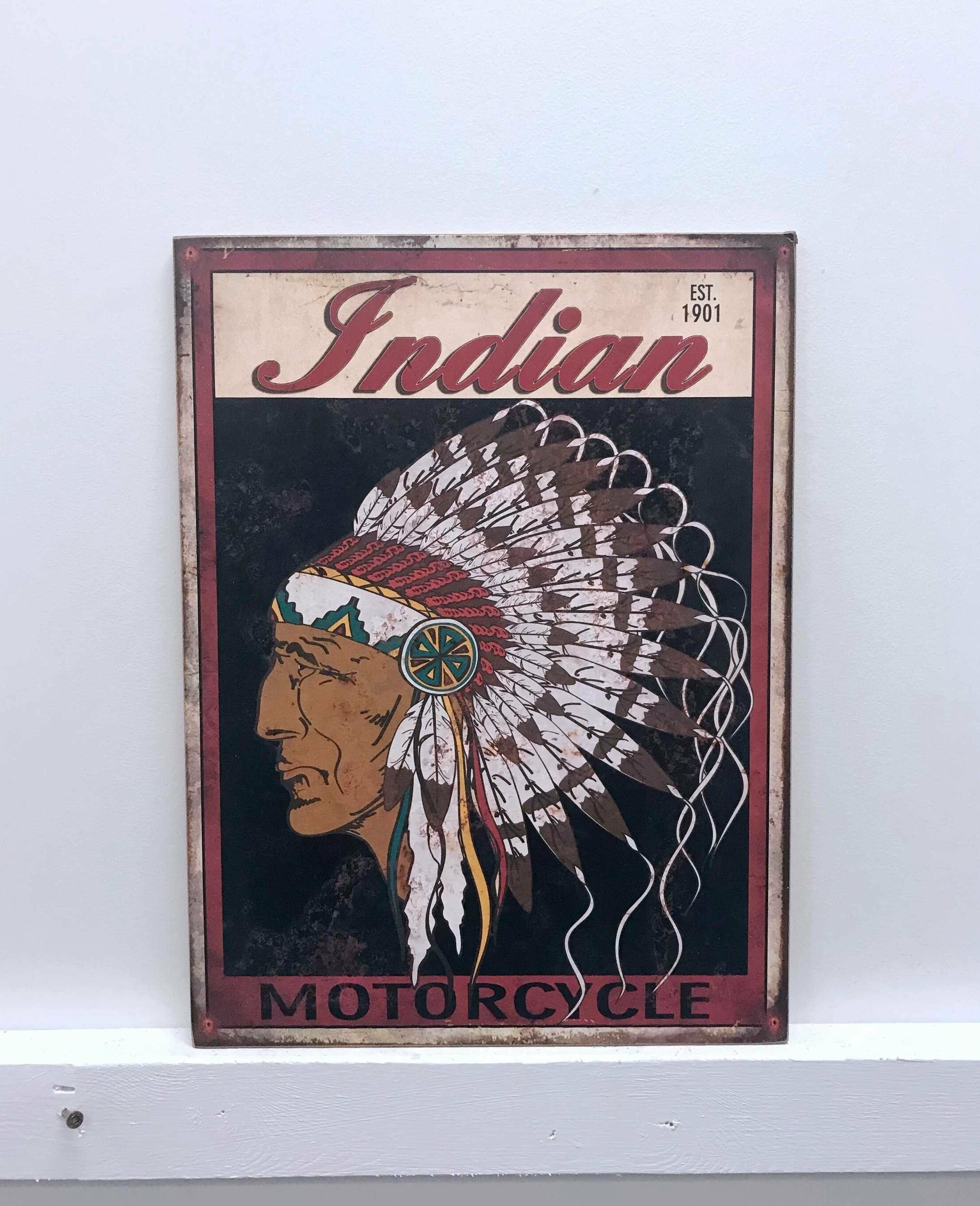 Indian Motorcycle Wooden Sign Wall Decor