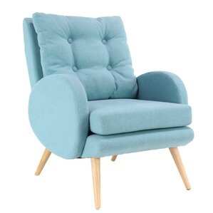 Kristie Modern Wood and Fabric Cushioned Armchair