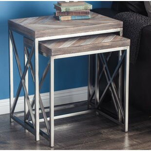 Metal/Wood 2 Piece Nesting Tables by Cole & Grey Design