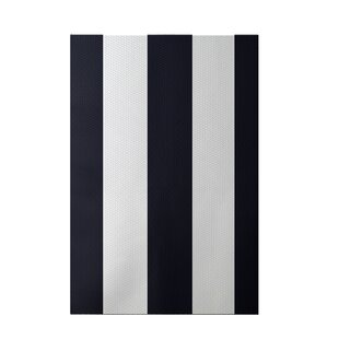 Best Reviews Caymen Stripe Print Navy Blue Indoor/Outdoor Area Rug By Breakwater Bay