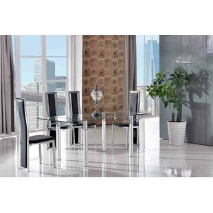 Bicester Steel Clear Glass Dining Set With 4 Chairs By Metro Lane