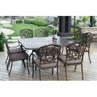 Dolby Traditional 9 Piece Metal Frame Dining Set with Cushions by Astoria Grand