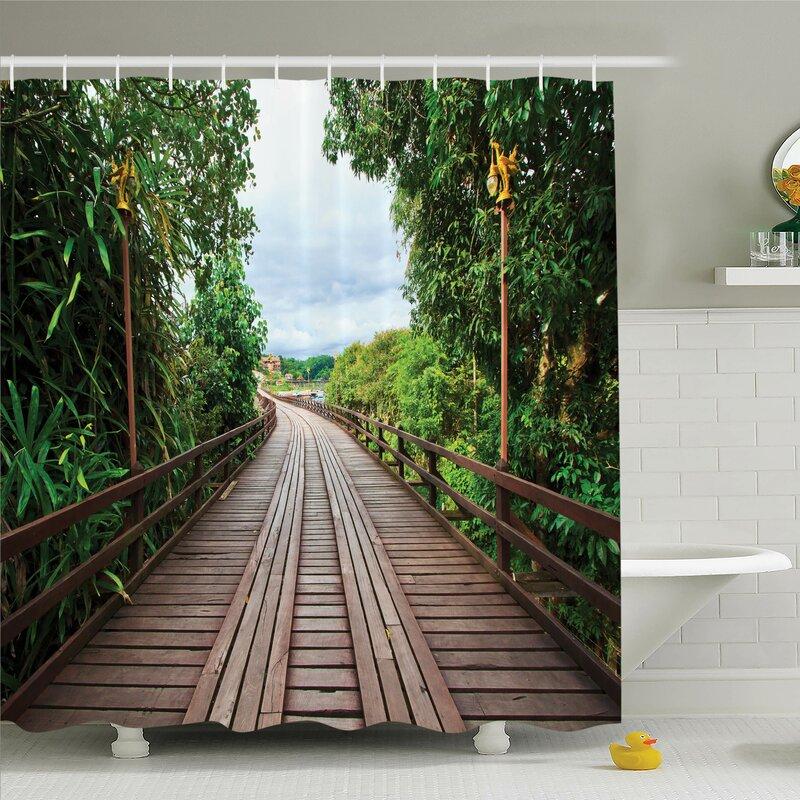 Ambesonne Tropical Wooden Bridge Exotic Shower Curtain Set | Wayfair