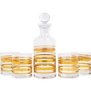 5 Piece Posh Gold Bangle Decanter and Glass Set